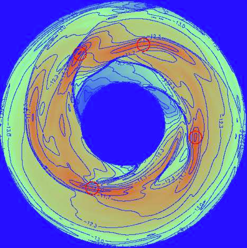 From Fig 5. of the paper.  This plot shows the density contours of disk around a 1-solar-mass star after 547 years.  Notice the strong spiral structure that is forming, within which the high density leads to gravitational fragmentation.