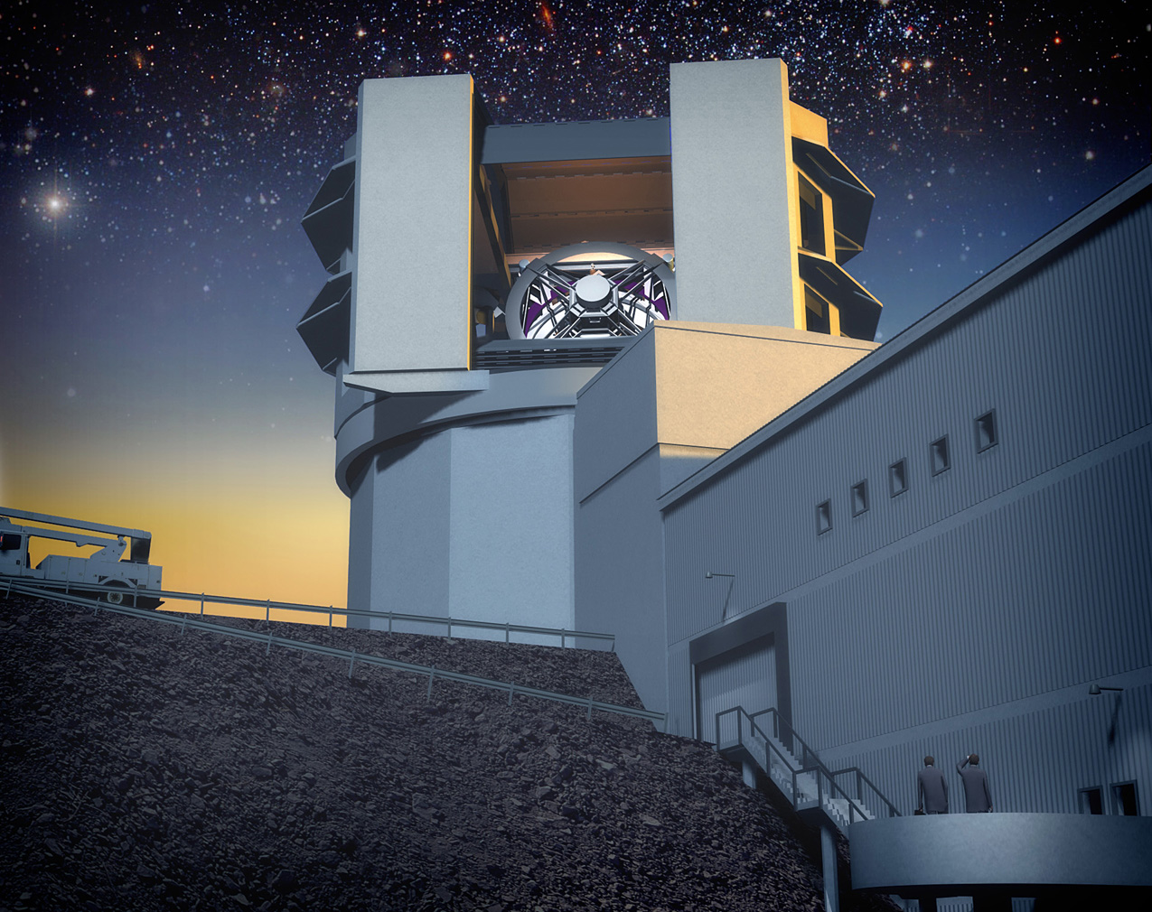 Concept art of the completed LSST telescope in South America.  www.lsst.org