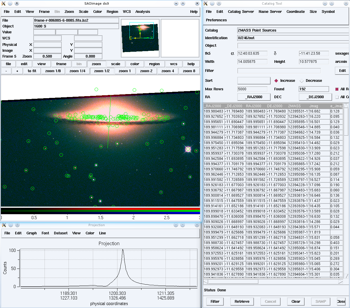 Loading the catalog of 2MASS point sources near the Sombrero galaxy (green circles and table on right) and examining the radial profile of the Sombrero's disk and bulge (below).