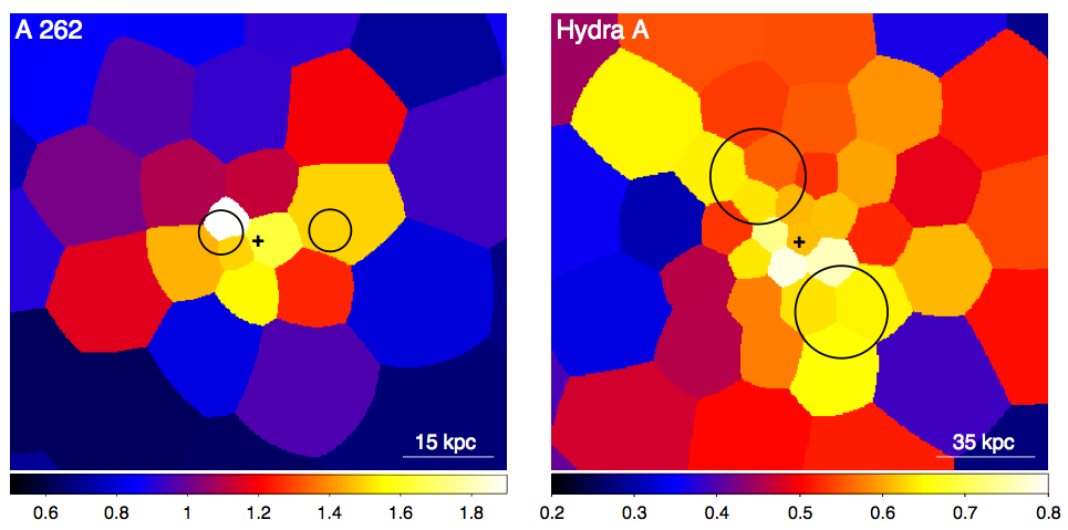Metallicity maps for clusters Abell 262 and Hydra A.  The high metallicity gas (shown in yellow) can be seen extending along the same axis of the cavity system (size and location indicated by black circles).  The black crosses represent the cluster center.