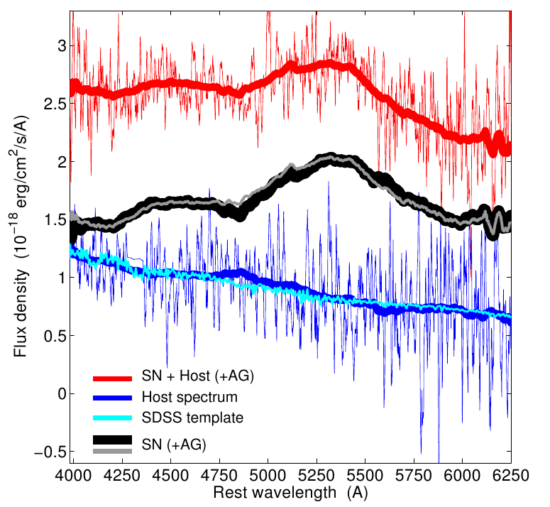 The spectrum of SN 2009nz (black), obtained from the original spectrum (red) by subtracting the host galaxy spectrum (blue).  The thick lines are smoothed to de-emphasize noise.  From Berger et al. 2011.