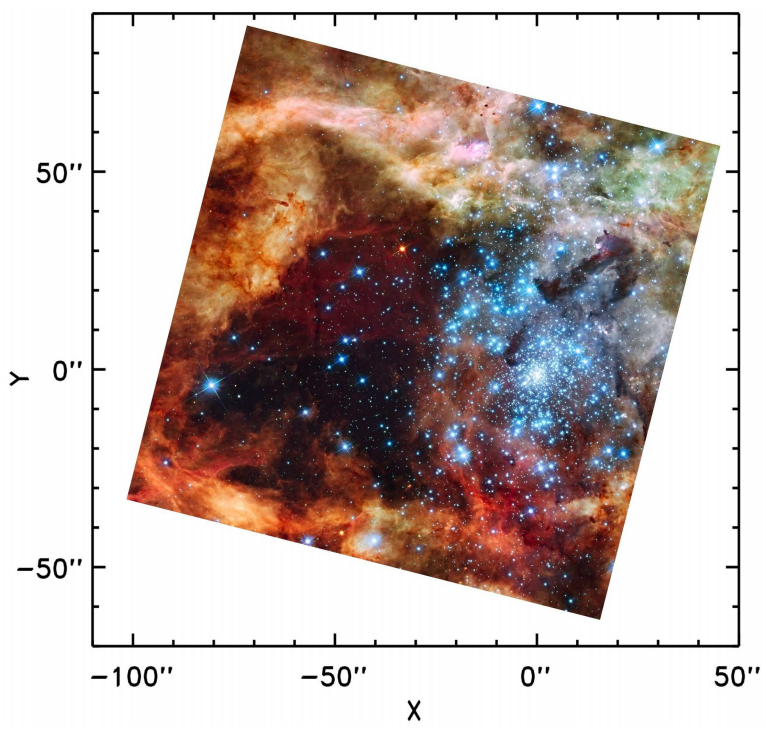 A WFC3 RGB image of the 30 Doradus star forming region.