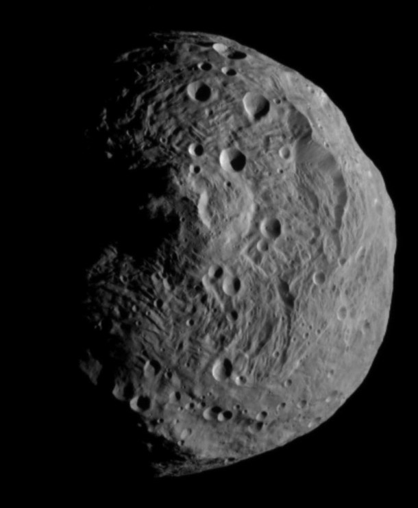 This image was the first image of Vesta to be taken by NASA's Dawn spacecraft after it successfully entered an orbit around the asteroid on July 15th 2011.