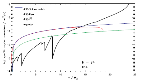 Angular momentum vs. mass for a 24 solar mass star with very low metallicity (i.e. very little mass loss).  The black line is the angular momentum distribution of the star, while the colored curves show the amount of angular momentum required to form a disk around a black hole.  The inner portions of the star aren't spinning quickly enough, but the outer 9 solar masses could form a disk after a pause of a freefall time to allow them to collapse inwards.