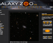The original Galaxy Zoo   interface. The user is shown an image of a galaxy and via a set of simple,   intuitive buttons, can classify the current object. After clicking,   another randomly selected galaxy is shown.