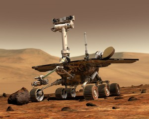 An artist's conception of the rover Opportunity, which discovered the sedimentary rocks that provide evidence for water on Mars.