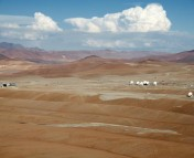 A view of the ALMA Array Operations Site (AOS), located at 5000 m elevation on the Chajnantor Plateau in northern Chile. Photo credit: ALMA(ESO/NAOJ/NRAO), W. Garnier.