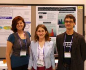 From left to right: Susanna Kohler, Lauren Weiss, and Chris Faesi with the Astrobites poster at #aas220.