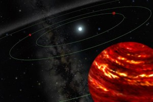 Artist's Rendition of HR8799 (Credit: Gemini Observatory Artwork by Lynette Cook)