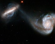 Arp 87, a pair of interacting galaxies, is an example of the type of images being evaluated in Merger Wars. Photo credit: Hubble Heritage (STScI / AURA)
