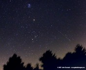 A view of the Persied Meteor shower and Taurus over the eastern horizon. The Pleiades star cluster is at top, with reddish Mars at the center, and the bright star Aldebaran anchoring Taurus towards the horizon (Photo credit: APOD, John Chumack).