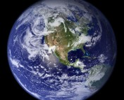 This view of Earth comes from NASA's Moderate Resolution Imaging Spectroradiometer aboard the Terra satellite. From http://www.geog.ucsb.edu/.