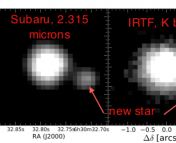 Two different images, the first taken with Subaru, the second with the IRTF.  Notice the previously unresolved star next to WASP-12.  Images from Crossfield et al. (2012).