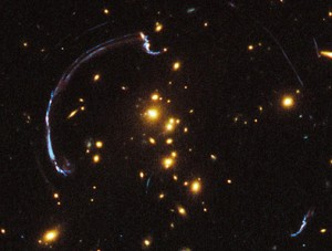 An example of gravitational lensing from the Hubble space telescope.