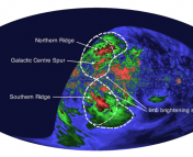 Figure 3:  A map of the radio intensity of the Fermi bubbles.  Dashed lines show the extent of the gamma-ray emission.