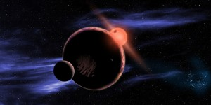 An artist's conception of an M dwarf with a habitable planet (and moons!). Credit: David A. Aguilar (CfA)