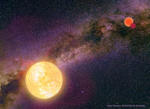 Credit: Karen Teramura (UH Institute for Astronomy) with background photograph by Wei-Hao Wang