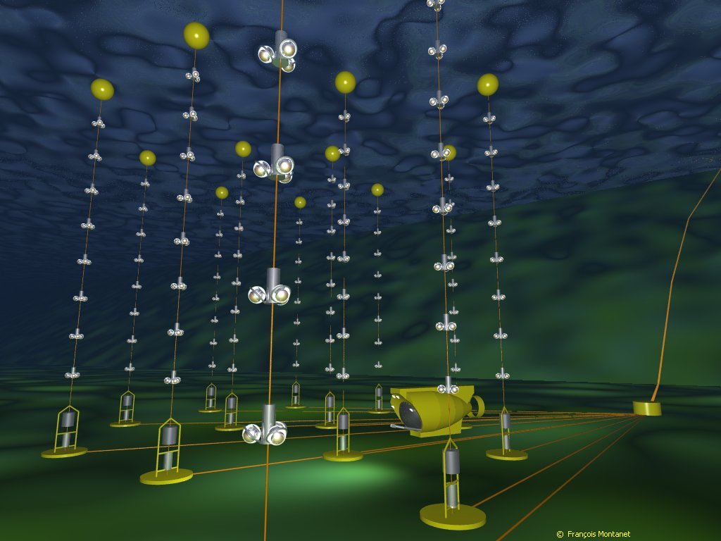 The experimental setup of the ANTARES neutrino telescope, with its 12 lines of photomultipliers, under the sea. Credit: F.Montanet, CNRS/IN2P3 and UJF for Antares. Produced with POV-ray.