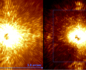 This shows how the Project 1640 system reduces the speckles in the image using wavefront sensing. The figure on the left shows the system (using the coronagraph to suppress starlight). The image on the right shows the system if the wavefront sensing and correction system is turned on.