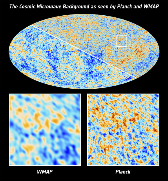 The full sky Cosmic Microwave Background as imaged by the Planck satellite (upper right half) and by its predecessor, NASA's Wilkinson Microwave Anisotropy Probe (lower left half). Credit: ESA and the Planck Collaboration; NASA / WMAP Science Team