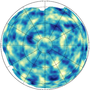 The Northern map of the reconstructed lensing potential, mapping the integrated matter along the line-of-sight to the CMB. Adapted from Figure 8 of the Planck Collaboration XVII paper.