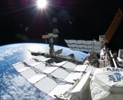 AMS onboard the International Space Station, where it started taking data on May 2011. Credit: NASA.