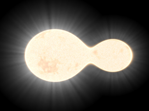 While this is a binary star system, the same effect is observable for planets.
