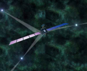 Figure 1: An artist's impression of a spacecraft navigating in deep space using pulsar signals. Fig 12 in the paper.