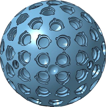 A cartoon of the LARES satellite. The indentations represent the mirrors.