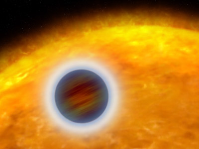Figure 1. An artist's illustration of the atmosphere of a gas giant exoplanet. Although it is possible to obtain spectra of the atmospheres of gas giants and some mini-Neptunes, determining the atmospheric properties of small planets is a major challenge today.