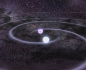 Figure 2: Artist's rendition of a NS merger.  Credit: NASA Goddard