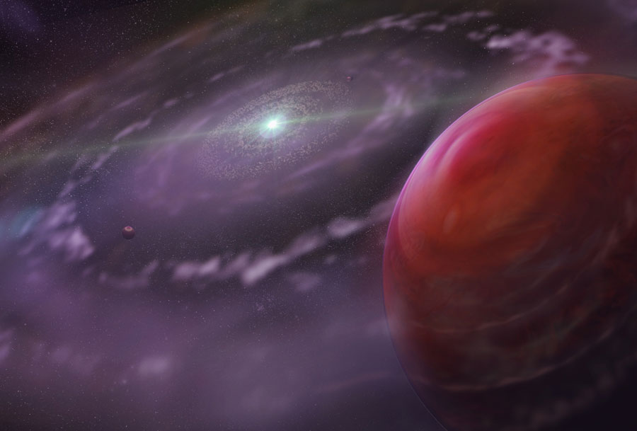 An artist's conception of a giant planet forming in a disk of gas. (Image from Dunlap Institute, Toronto).