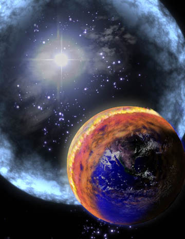 Artist's depiction of a nearby GRB impact with Earth. Earth's life forms are probably not too thrilled with that brown cloud of nitrogen dioxide that formed as a result of the high-energy photons interacting with the air. Image credit: NASA.
