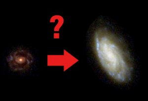 How did galaxies grow from their youthful state (left) to what we see today (right) ?