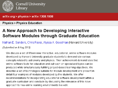 arXiv:1308.1908, our paper describing how astronomy students have created amazing online interactive modules for education as part of a graduate course.