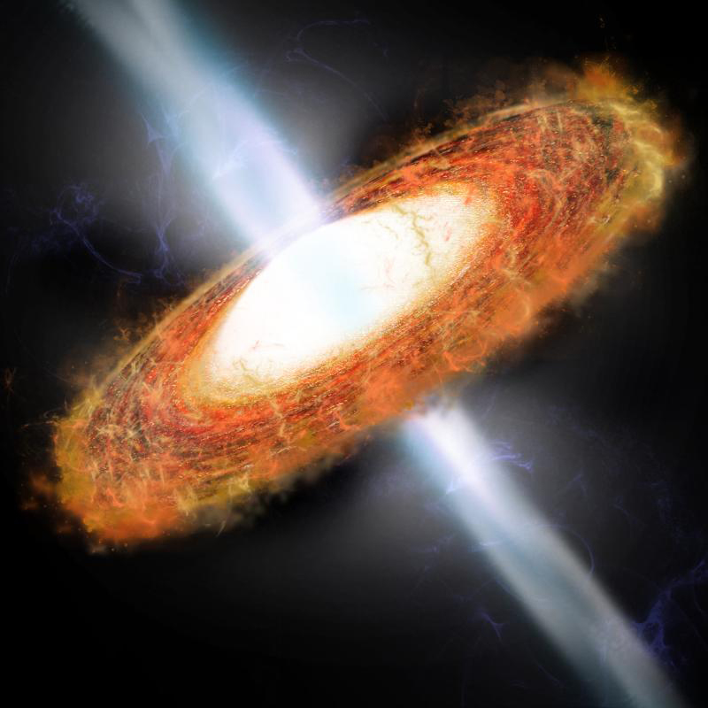 An artist's conception of an AGN illustrating the relativistic jets. Kepler's future could involve monitoring the variability of these objects.
