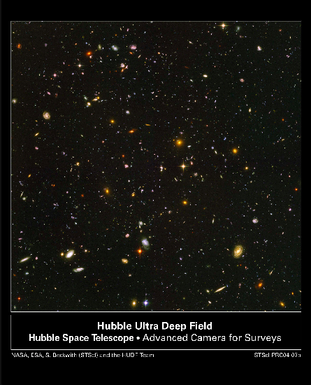 Image of Hubble Ultra-Deep-Field---deep because it goes out super-far into the past, to redshift 8 (and remember, farther into the past is also farther away!) From http://atomictoasters.com/2011/08/the-hubble-ultra-deep-field-2/