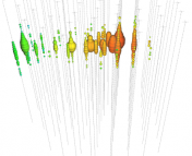 A diagram showing how the detectors in the IceCube grid measure the signal of a neutrino. The colors represent the time that each detector received the signal.