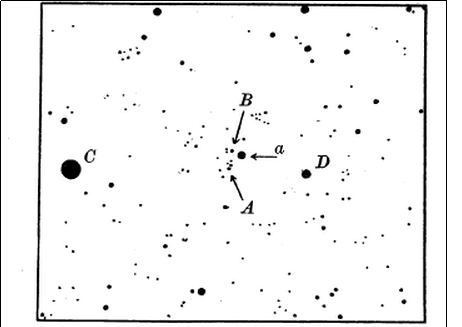 Image from Barnard's paper, showing the movement of the newly discovered star in time.