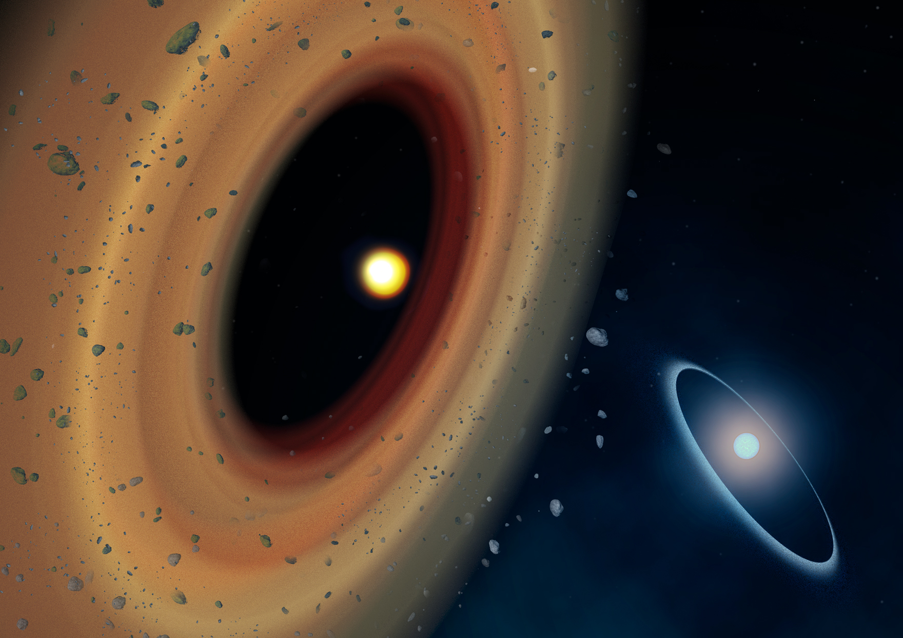 An artist's conception of the newly discovered debris disk around the red dwarf Fomalhaut C. Fomalhaut A and its famous disk lies in the background. Image credit: Amanda Smith.