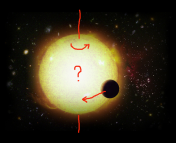 artist's impression of a hot Jupiter, with author's chalk added to indicate a retrograde orbit