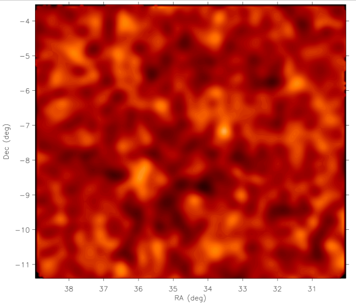 The reconstruction of the mass surface density in one of the CFHTLenS fields using the position angle method. Fig. 15 of Whittaker et al.