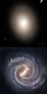 An example of an elliptical galaxy (top) and a spiral galaxy (bottom). Note the spiral galaxy's central bar and spiral arms.