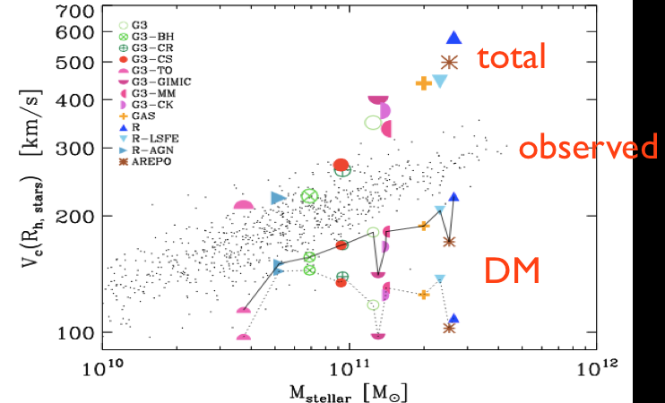 This plot shows that the galaxies don't reproduce the observed Tully-Fisher relation, and that this is due to the baryons, because the DM is not below the observed relation and so not the culprit.  From the paper.