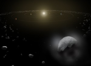 Figure 1 - Artist's conception of water vapor on Ceres.  Credit: ESA/ATG medialab