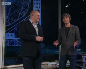 Presenters Brian Cox (left) and Dara O'Brien (right) live from Jodrell Bank