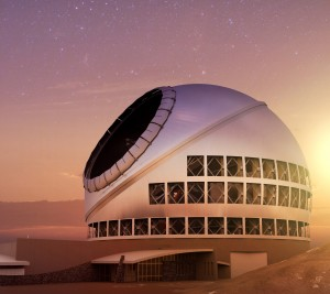 The TMT at sunset. Courtesy TMT Observatory Corporation.