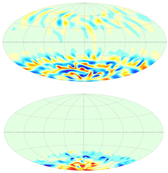 Figure 1 (Dietrich and Wicht, 2013): Visualization of fluid flow halfway down the core (top) and the radial component of the magnetic field at the core/mantle boundary (bottom). Red and yellow indicate outward flow, whereas blue means inward.
