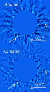 Figure 1 - Detections of the planet HD 95086 b at H band (1.7 microns - top), and K1 band (2.05 microns - bottom).  Figure from Galicher et al. (2014).