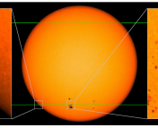 Figure 2. An illustration of how the white dwarf would distort and magnify the light from the G dwarf it orbits. The authors use an image of the surface of the Sun for this illustration. A video showing the lensing effect during a transit can be found here.